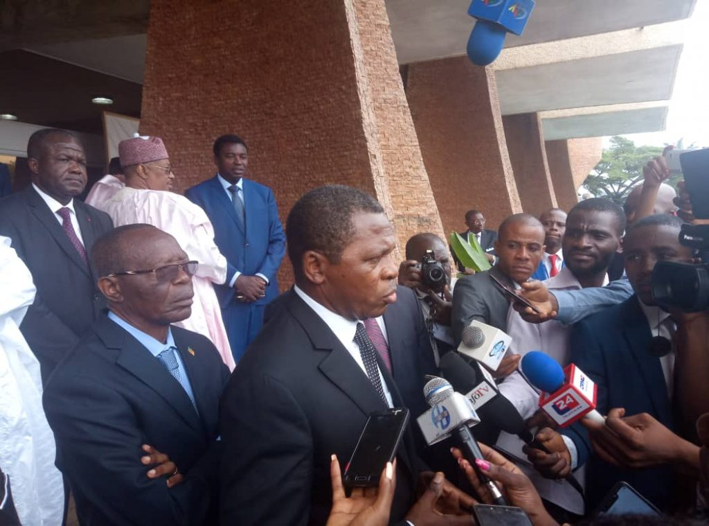 Journalists interview Cameroon Minister of Territorial Administration, Paul Atanga Nji aft opening of semester conference of governors in November. Journalists say obnoxious laws stifle press freedom..