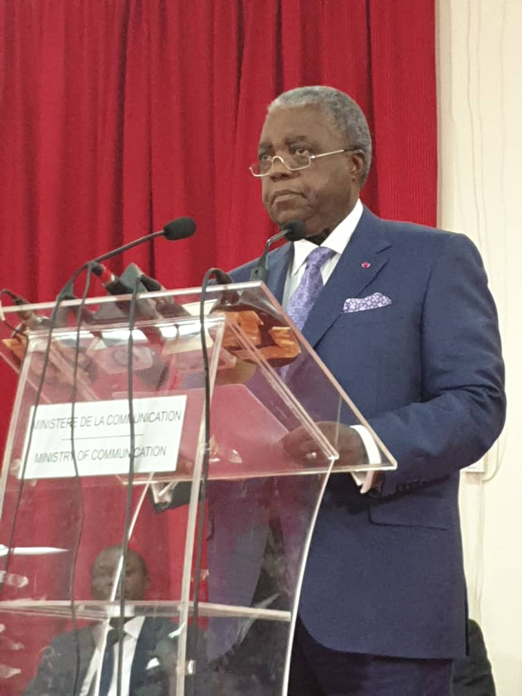 Emmanuel Rene Sadi, Cameroon Communication Minister speaking at a press conference in Yaounde in February. He had not responded to our questions